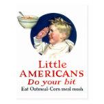 Los pequeños americanos del kitsch retro del postal