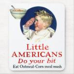 Los pequeños americanos del kitsch retro del vinta alfombrillas de ratones