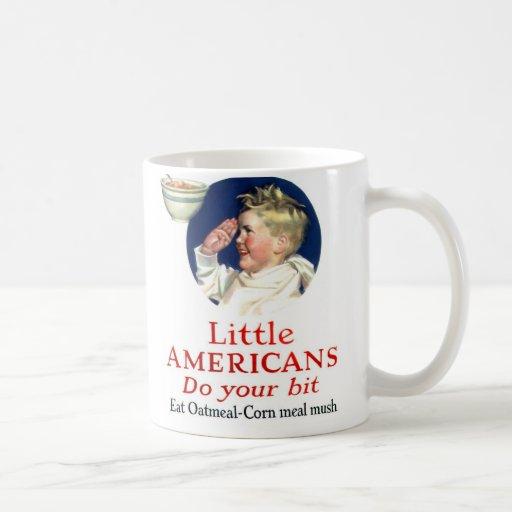 Los pequeños americanos del kitsch retro del vinta tazas