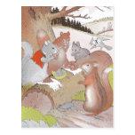 Los pequeños animales del arbolado comparten un ba tarjeta postal