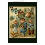 Los pequeños cerdos del vintage tres, mamá son felicitaciones