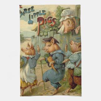 Los pequeños cerdos del vintage tres, mamá son tri toalla de mano