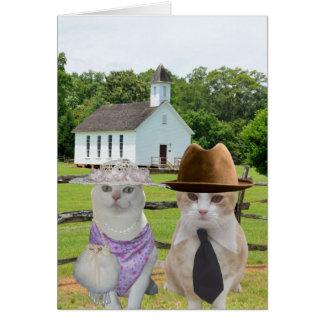 Los pequeños gatos que quisieron ir a la iglesia tarjeta de felicitación