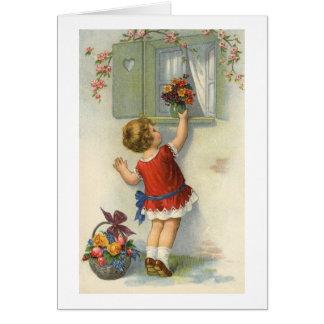 Los pequeños lugares florecen el ramo en el traves tarjeta de felicitación