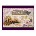 Los pequeños pájaros azules pian el Año Nuevo Tarjetas Postales
