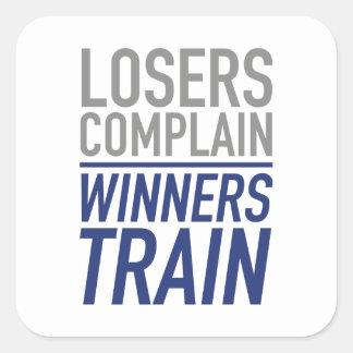 Los perdedores se quejan tren de los ganadores pegatina cuadrada