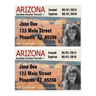 Los permisos del cazador del zombi de AZ - añada l Tarjetas Postales