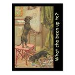 Los perros caseros del vintage en jugar de la trav postal