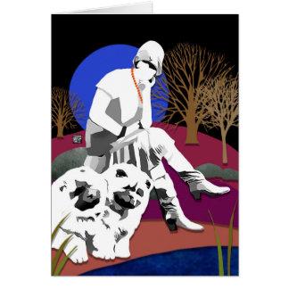 Los perros chinos y la aleta DE REFLEXIÓN de la Tarjetón
