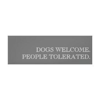 Los perros dan la bienvenida a arte impresión en tela