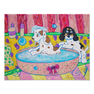 Los perros de aguas de cocker toman un baño poster