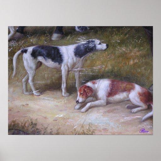 Los perros de caza en descanso, Pre1900 Póster
