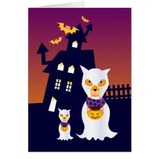 Los perros de Halloween del fantasma van truco o Tarjeta De Felicitación