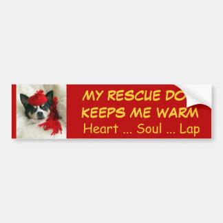 Los perros del rescate me guardan calentador, cora pegatina para auto