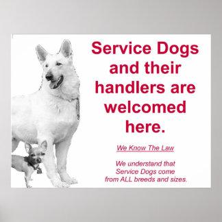 Los perros del servicio son agradables póster