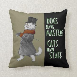 Los perros del vintage tienen gatos de los amos cojín