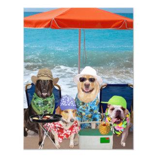 """Los perros divertidos adaptables invitan a día en invitación 4.25"""" x 5.5"""""""