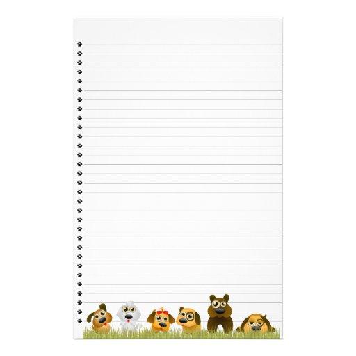 Los perros lindos alinearon los efectos de escrito papelería