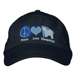 Los perros pastor del amor de la paz bordaron el g gorra de beisbol bordada