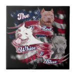 Los perros rojos, blancos y azules de Pitbull Azulejo Ceramica