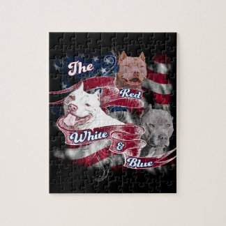 Los perros rojos, blancos y azules de Pitbull Puzzle Con Fotos