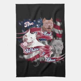 Los perros rojos, blancos y azules de Pitbull Toalla De Cocina