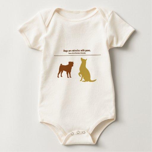 Los perros son milagros mameluco de bebé
