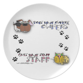 Los perros tienen gatos de los dueños tener el per plato de cena