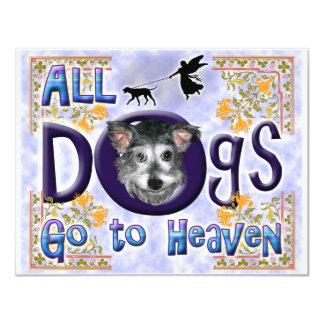 Los perros van a Heaven2 Invitación 10,8 X 13,9 Cm