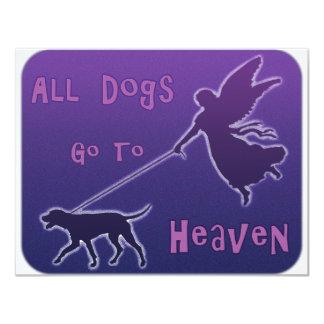 Los perros van al cielo invitación 10,8 x 13,9 cm