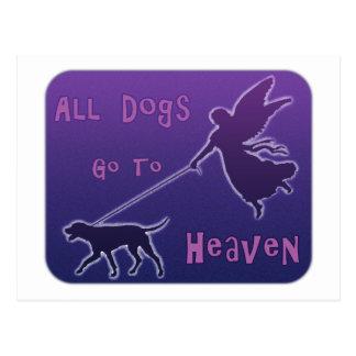 Los perros van al cielo tarjeta postal