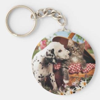 Los perros y los gatos consiguen adelante llavero redondo tipo pin