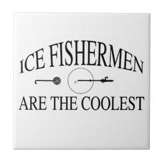 Los pescadores del hielo son frescos azulejo cuadrado pequeño