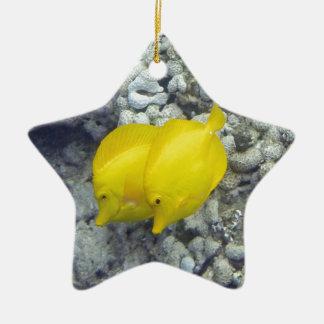 Los pescados amarillos de Tang Adorno Navideño De Cerámica En Forma De Estrella