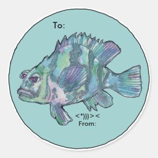 Los pescados azules del dibujo animado del mero pegatina redonda