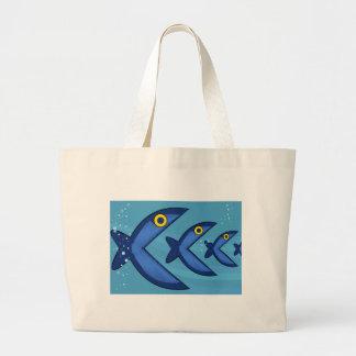 Los pescados comen pescados bolsa tela grande