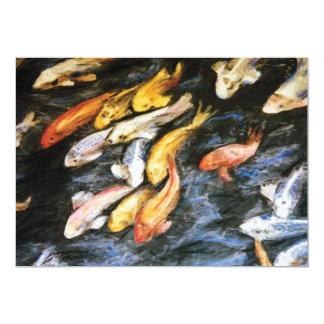 """Los pescados de Koi invitan Invitación 5"""" X 7"""""""