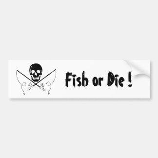 Los pescados de la bandera de pirata o mueren pegatina para auto