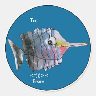 Los pescados de la mariposa del dibujo animado pegatina redonda