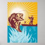 Los pescados de la perca americana vuelan la caña  poster