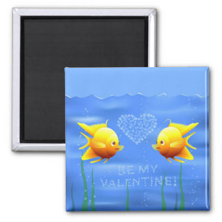 Los pescados de la tarjeta del día de San Valentín Imán Cuadrado