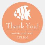 Los pescados del ángel le agradecen las etiquetas pegatina redonda