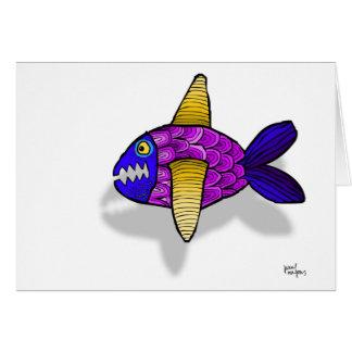 los pescados del azul del vuelo tarjeta de felicitación