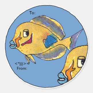 Los pescados del dibujo animado de Tang de los Pegatina Redonda
