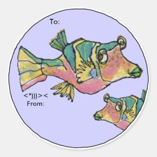 Los pescados del dibujo animado del Boxfish del Pegatina Redonda