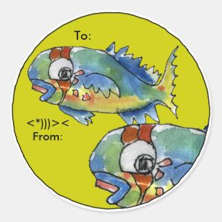 Los pescados del loro del dibujo animado pegatina redonda