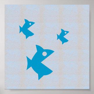 Los PESCADOS gráficos de la playa del mar de las Póster