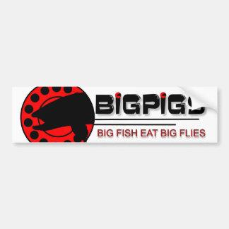 Los pescados grandes comen moscas grandes pegatina para auto