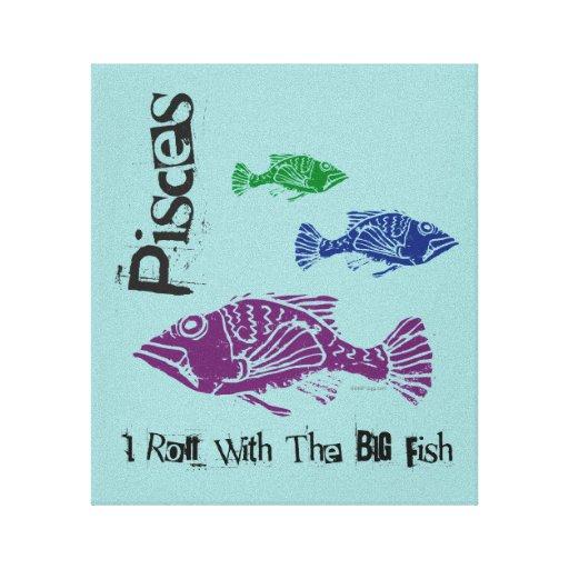 Los pescados grandes de Piscis envolvieron la impr Impresiones En Lienzo Estiradas