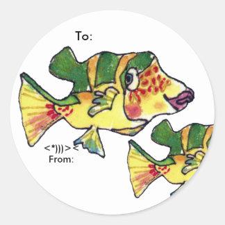 Los pescados lindos del dibujo animado del Boxfish Pegatina Redonda